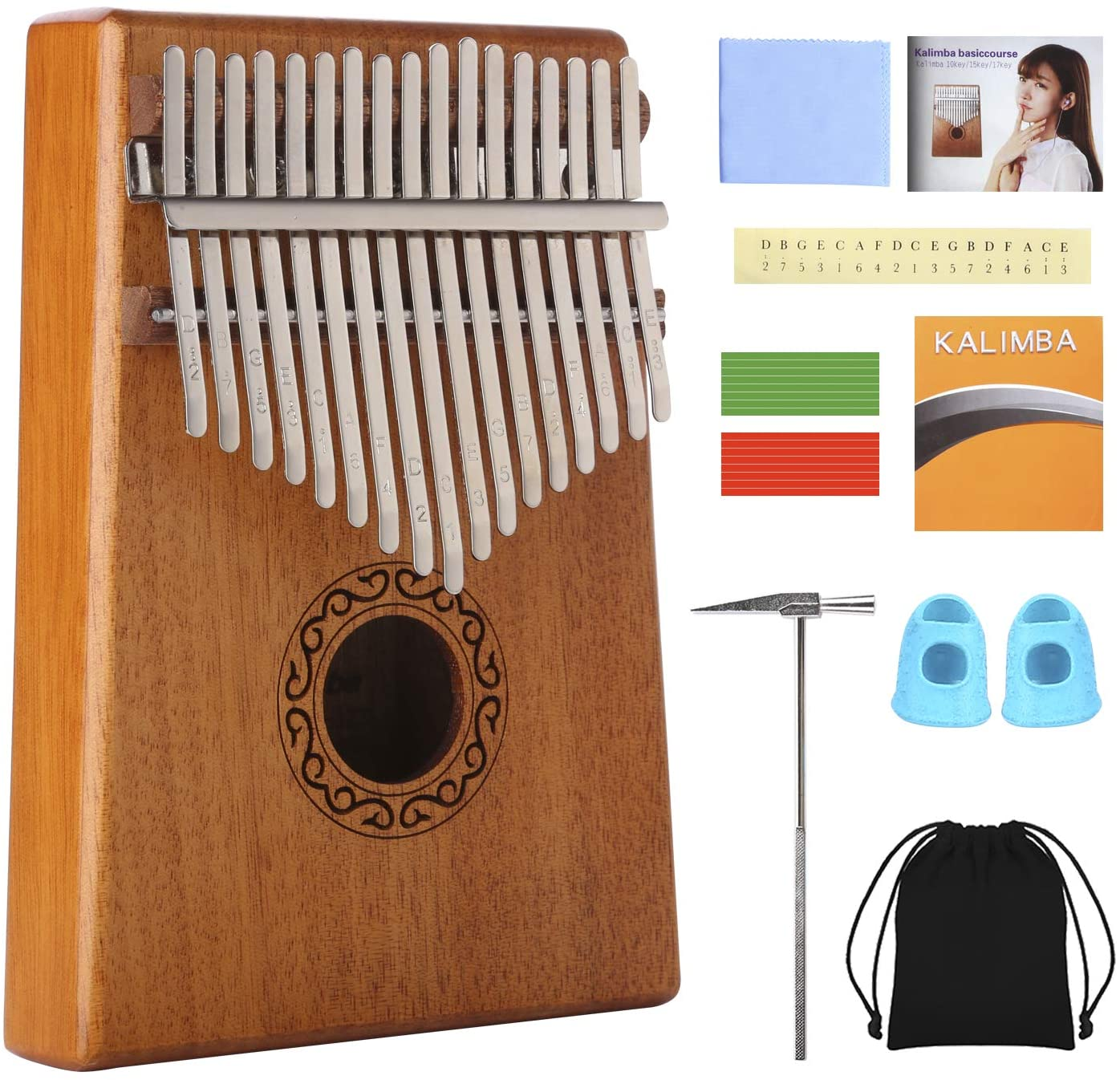Kalimba 17 Teclas,Piano de pulgar con bolsa protectora